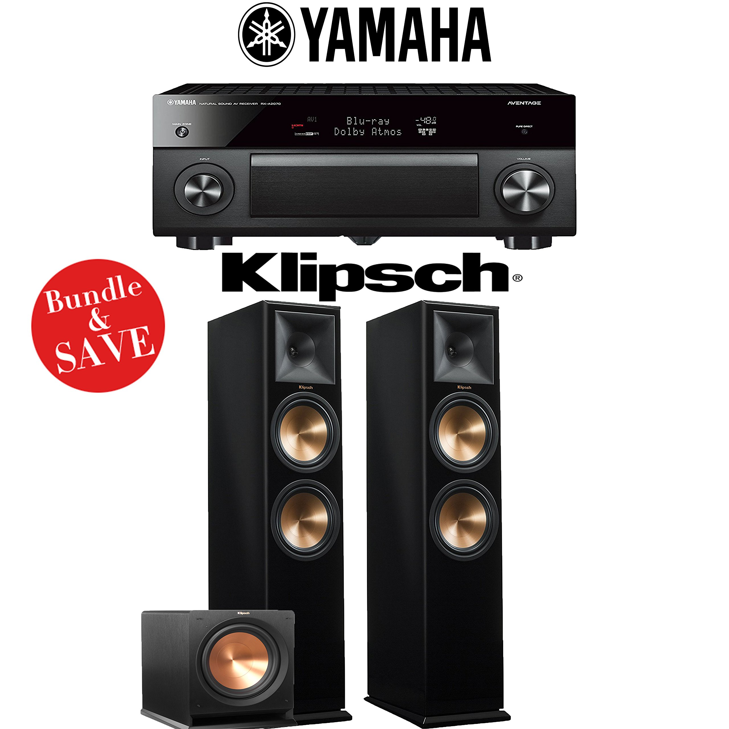 Yamaha AVENTAGE RX-A2070BL 9.2-Ch 4K Network AV Receiver + Klipsch RP-280F + Klipsch R-112SW - 2.1-Ch Home Theater Package (Piano Black) by Yamaha