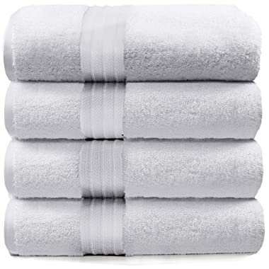4-Piece Bath Towels Set for Bathroom, Spa & Hotel Quality | 100% Cotton Turkish Towels | Absorbent, Soft, and Eco-Friendly (White)