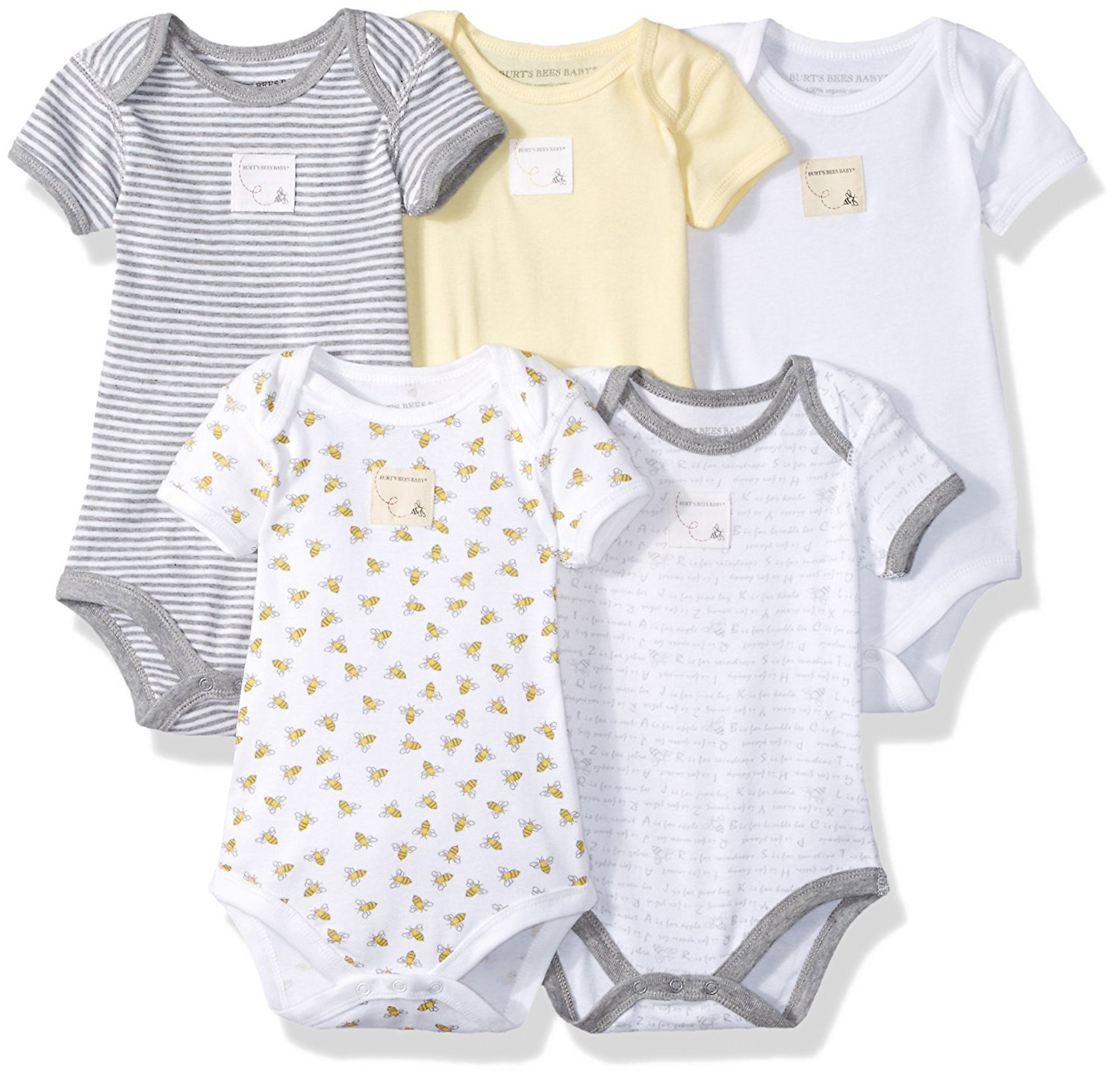 Burt's Bees Baby Unisex Baby Short Sleeve Bodysuits, Set of 5, 100% Organic Cotton