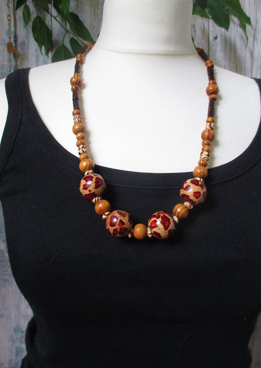 Chunky animal print brown wooden beaded necklace with gift bag