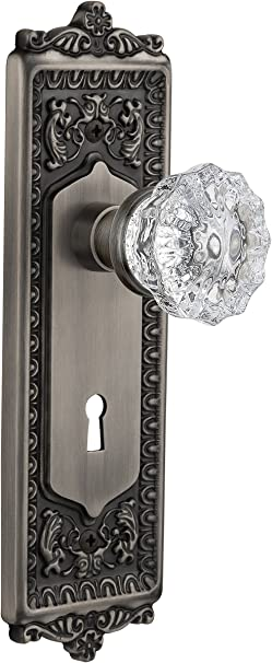Nostalgic Warehouse Egg And Dart Plate With Keyhole Crystal Knob Single Dummy Antique Pewter Doorknobs Amazon Com