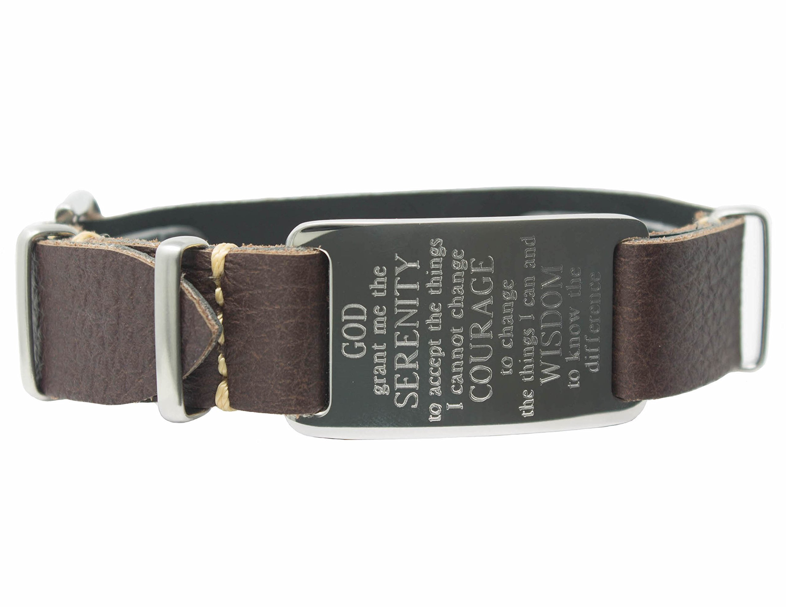 Leather Wrap Bracelet with Serenity Prayer ID Plate (Brown) by Dakota (Image #3)