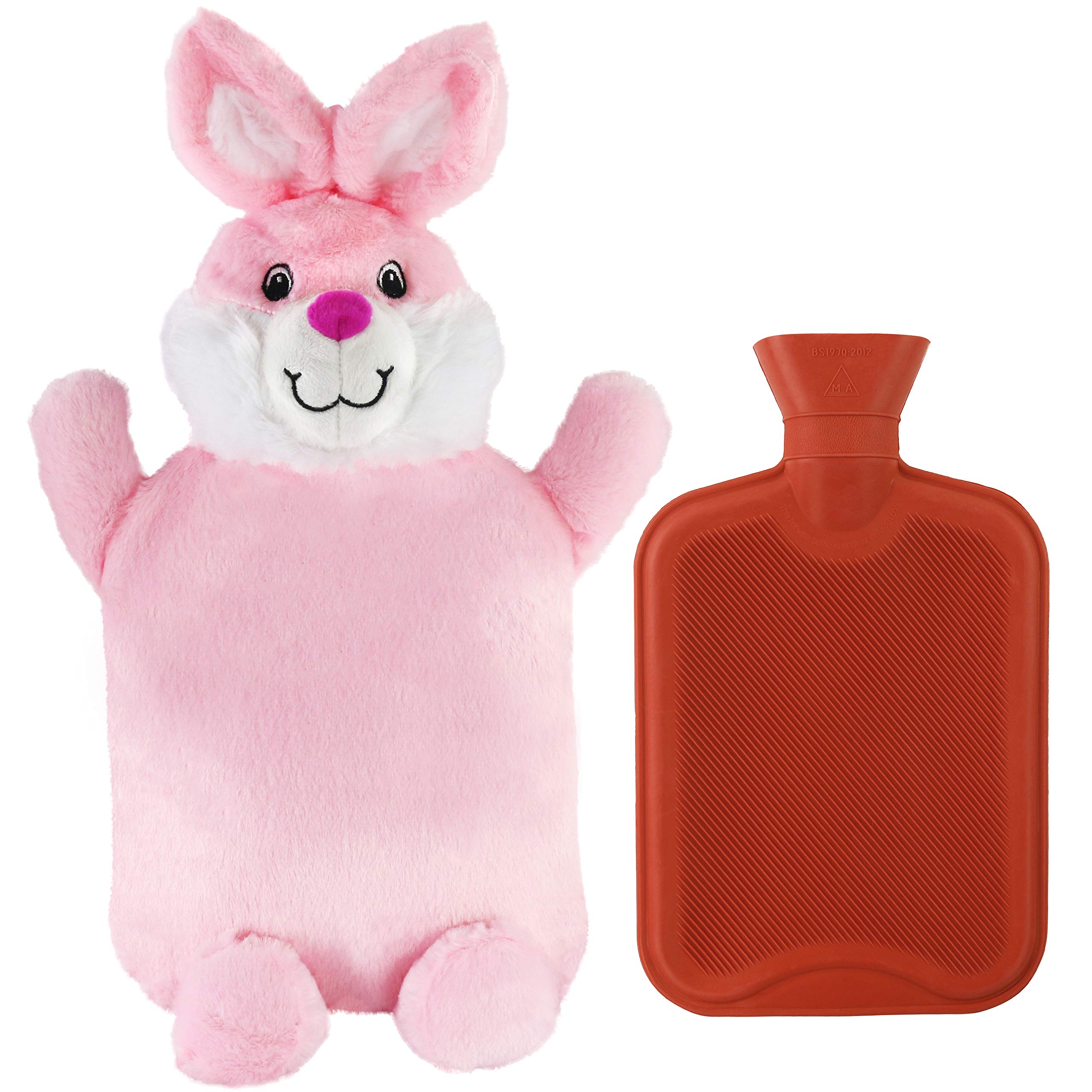 Athoinsu Bunny Rubber 2L Hot Water Bottle with Cute Pink Plush Animal Cover for Girls Women Children(Rabbit) by Athoinsu
