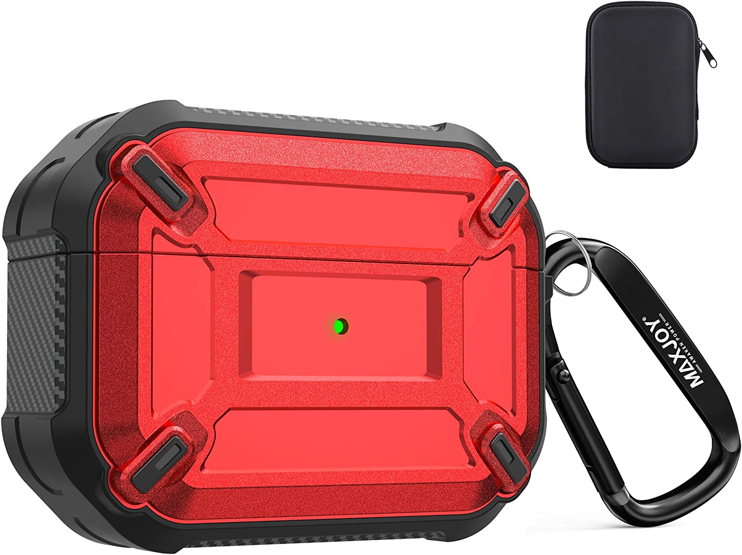 Maxjoy Compatible Airpods Pro Case Cover, Airpods Pro Protective Case Armor Hard Rugged Shockproof Cover with Keychain Compatible with Apple Airpods Pro Charging Case (Front LED Visible), Red