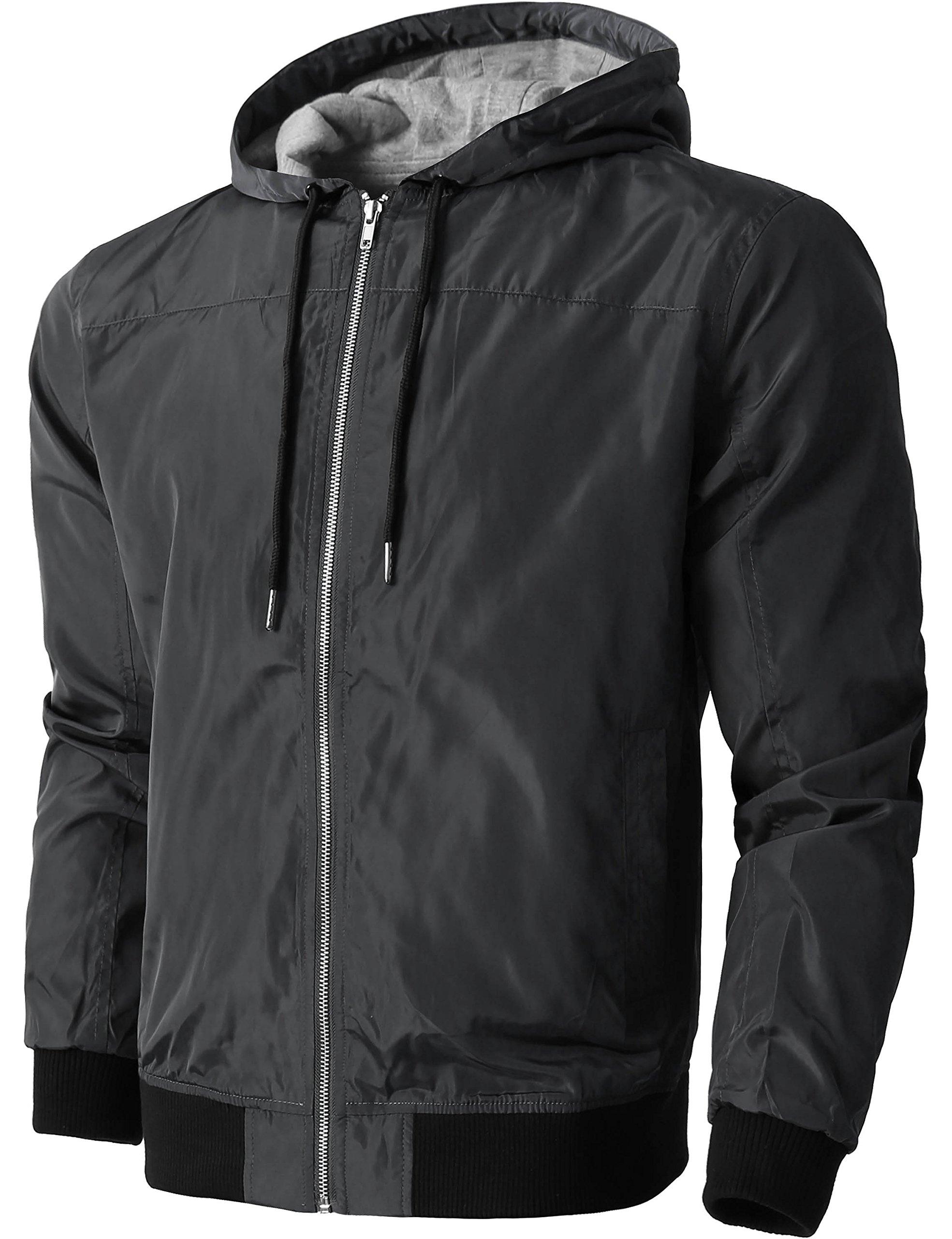 Hat and Beyond KS Mens Windbreaker Active Lightweight Jackets Casual Slim Fit Sweatshirts 1KSA0020 (X-Large, 20_Charcoal)