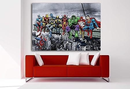 Cuadro Lienzo Superhéroes Marvel Avengers Desayuno Manhattan - Lienzo de Tela Bastidor de Madera de 3 cm - Fabricado en España - Impresión en Alta resolución – Varias Medidas (100, 69): Amazon.es: Hogar