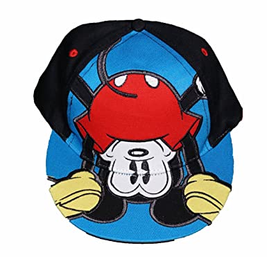 mickey baseball cap with ears hat mouse toddler upside down adult size black blue