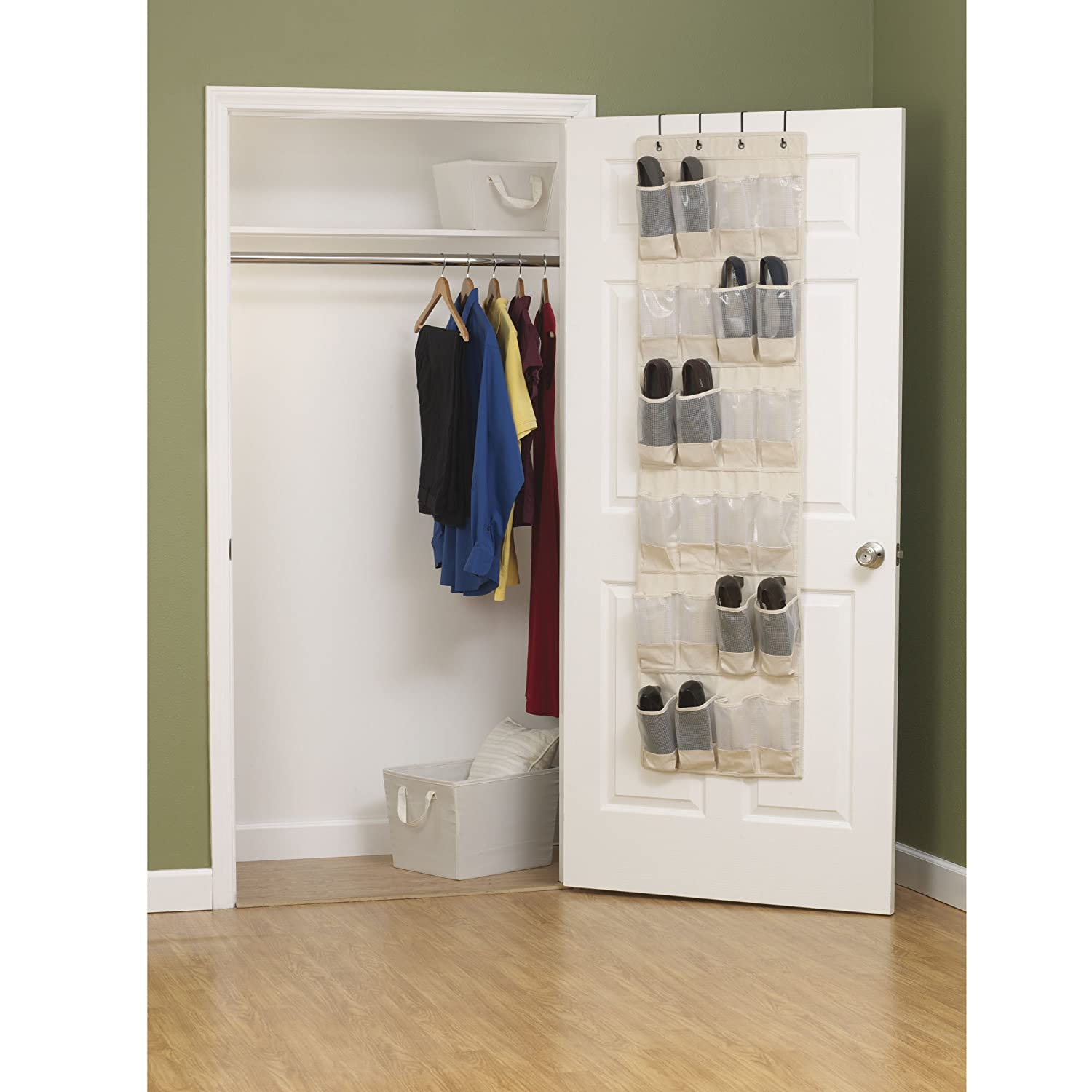 Amazon.com: Household Essentials 3382 1 Cotton Canvas Over The Door Shoe  Organizer | 24 Pocket | Natural: Home U0026 Kitchen