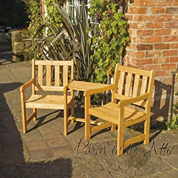 Superieur SOLIDWOOD GARDEN FURNITURE COMPANION SET SEAT JACK U0026 JILL BENCH CHAIRS  PARASOL