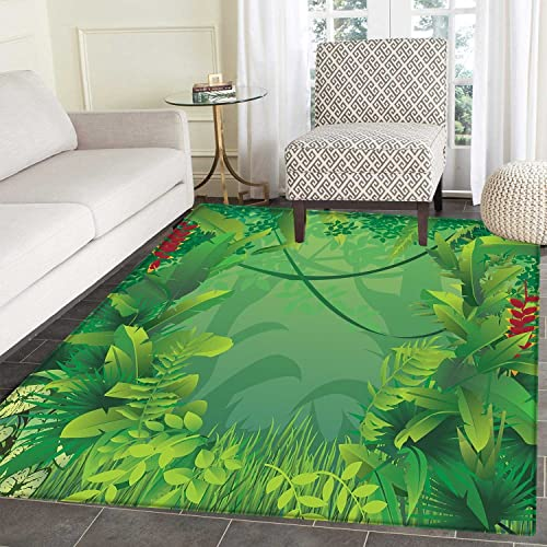 Green Leaf Small Mat Carpet Hawaiian Rainforest Tropical Climate Island Vegetation Foliage Door mat Indoors Bathroom Mats Non Slip 2 x3 Jade Green Apple Green Red