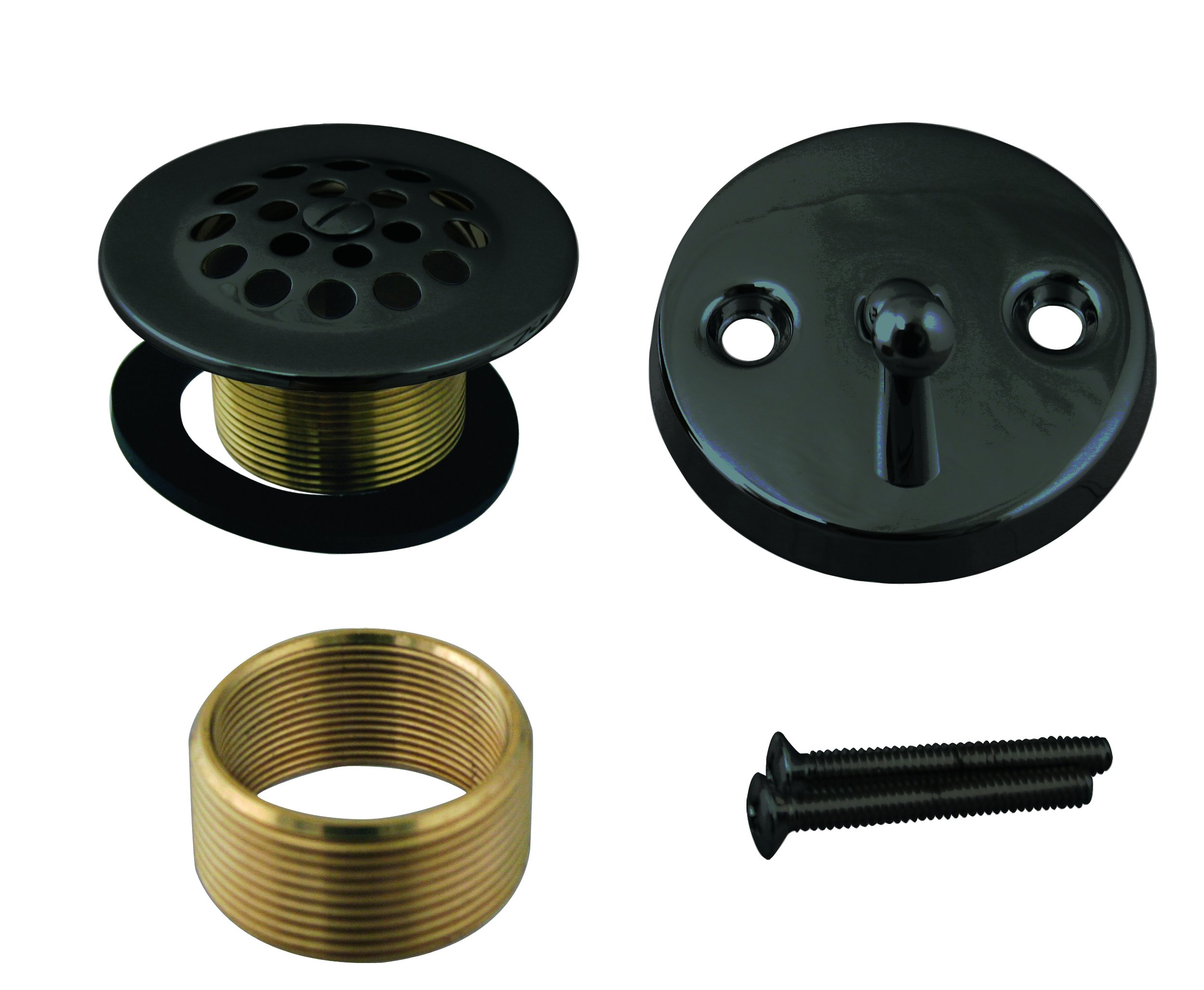Westbrass Beehive Grid Universal Tub Trim with Trip Lever Faceplate, Matte Black, D92K-62