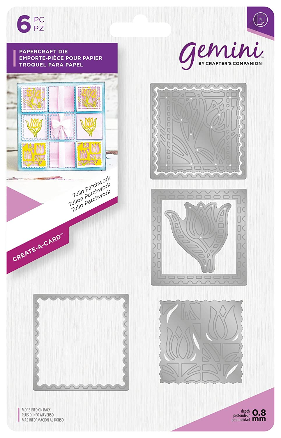 Gemini Die-Create-a-Card-Tulip Patchwork, Silver, Various Crafter's Companion GEM-MD-CAD-TULP