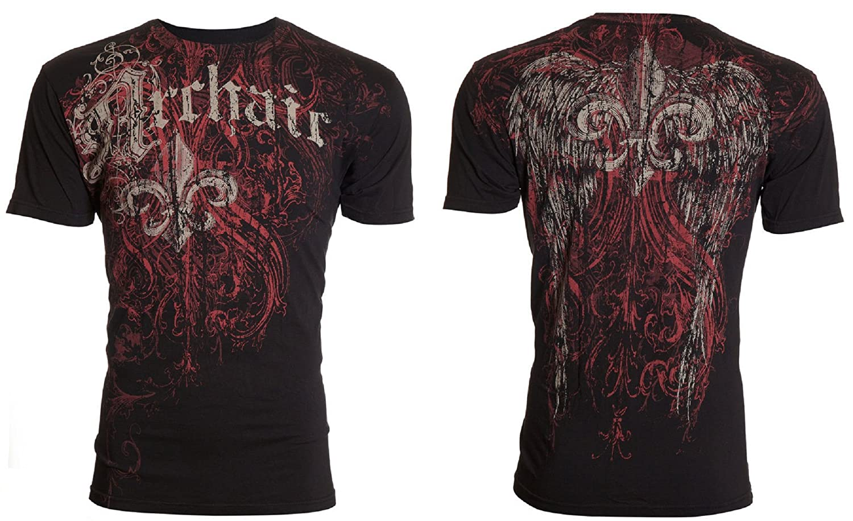 Archaic Affliction Mens T-Shirt Wing Tattoo Black Motorcycle Biker UFC