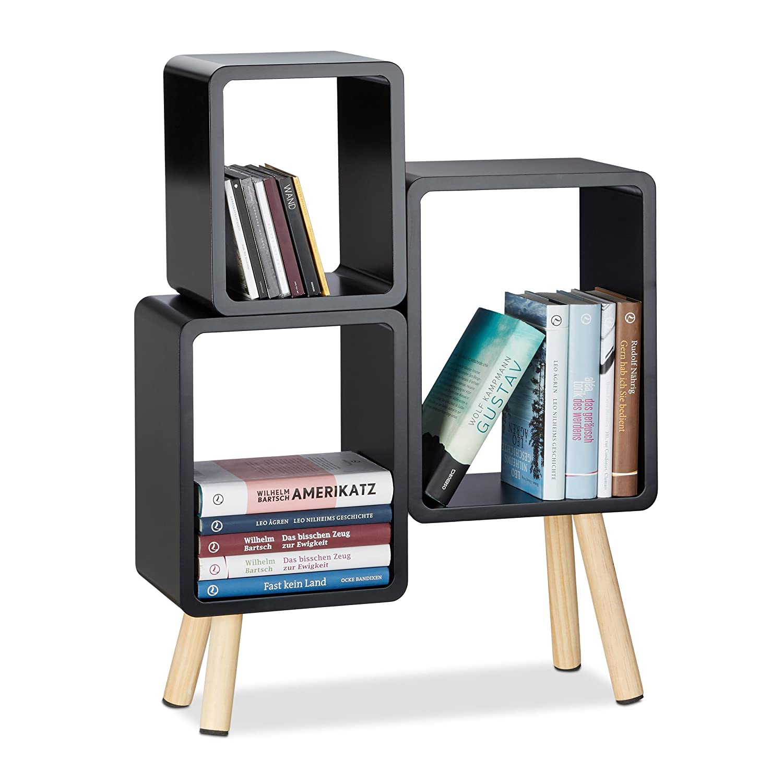 Relaxdays 3-teiliges Regalsystem, Würfelregal Holz, Cube Regal rund mit 4 Beinen, MDF, HBT: 69 x 52,5 x 18 cm, schwarz Würfelregal Holz 10021924_46
