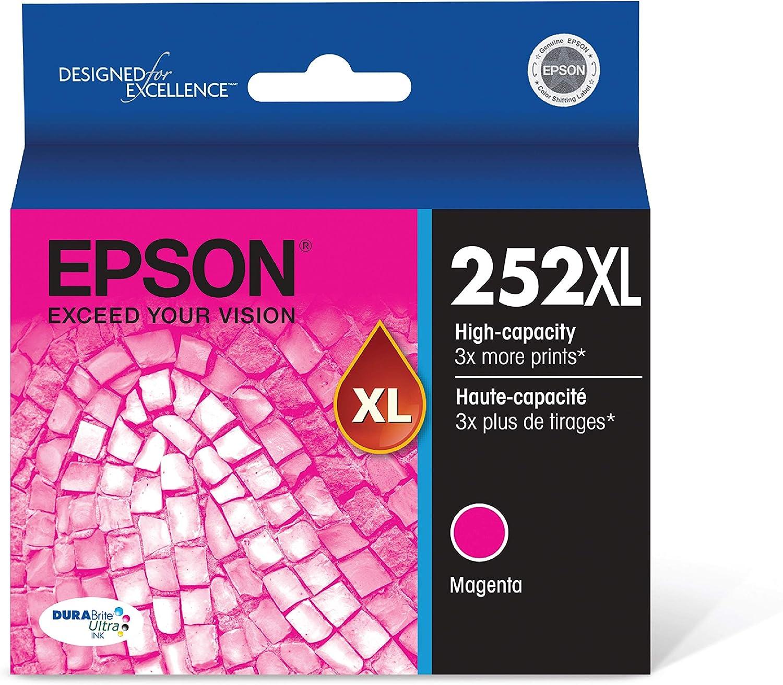 Epson T252XL320 252XL Workforce WF-3620 3640 7110 7210 7610 7620 7710 7720 Ink Cartridge (Magenta) in Retail Packaging