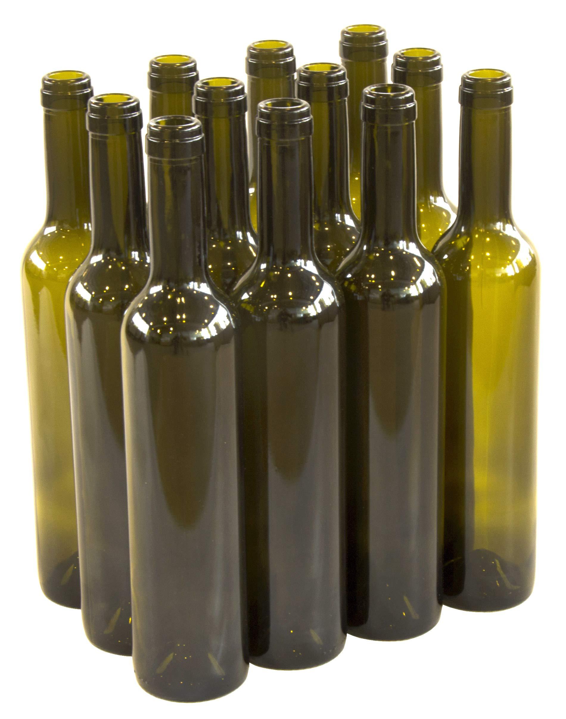 North Mountain Supply 500ml Antique Green Glass Bordelaise Seduction Wine Bottle Punt-Bottom Cork Finish - Case of 12