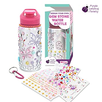 Decorate Personalize Your Own Water Bottles For Girls With Tons Of Rhinestone Glitter Gem Stickers Reusable Bpa Free 20 Oz Kids Water Bottle Cute