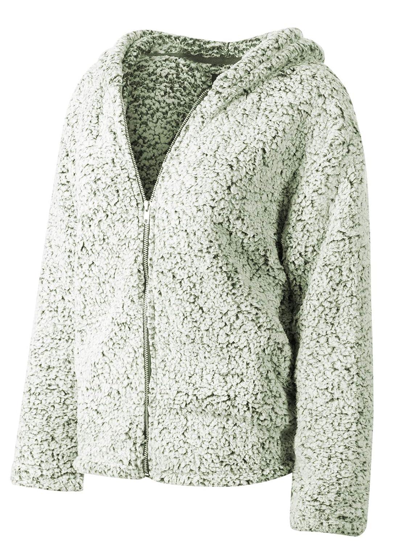 Ijkw030 Olive Instar Mode Women's Casual Warm Fluffy Faux Fur Oversized Outerwear Jacket Cardigan
