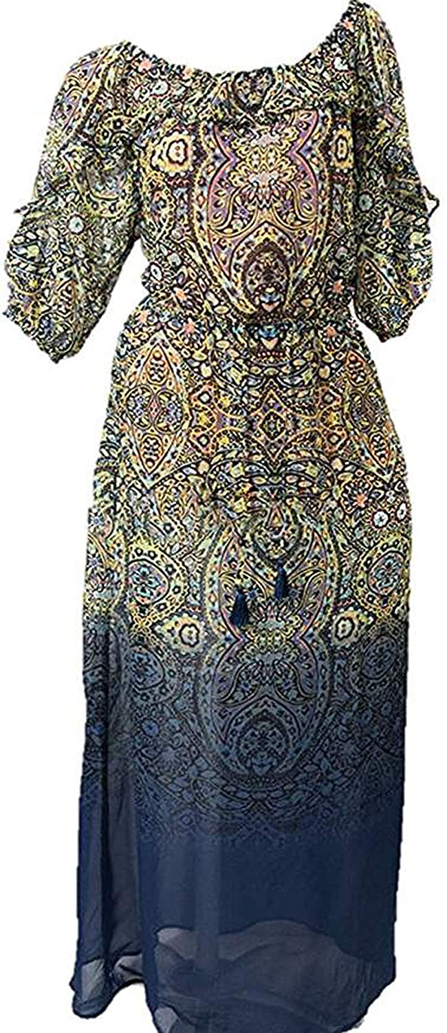 Swimwer Cover-up Off Shoulder Maxi Beach Dress Paisley Ombre Large