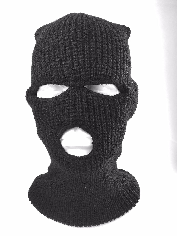Sturmhaube / Maske, 3Löcher, Armee-Stil, Schwarz