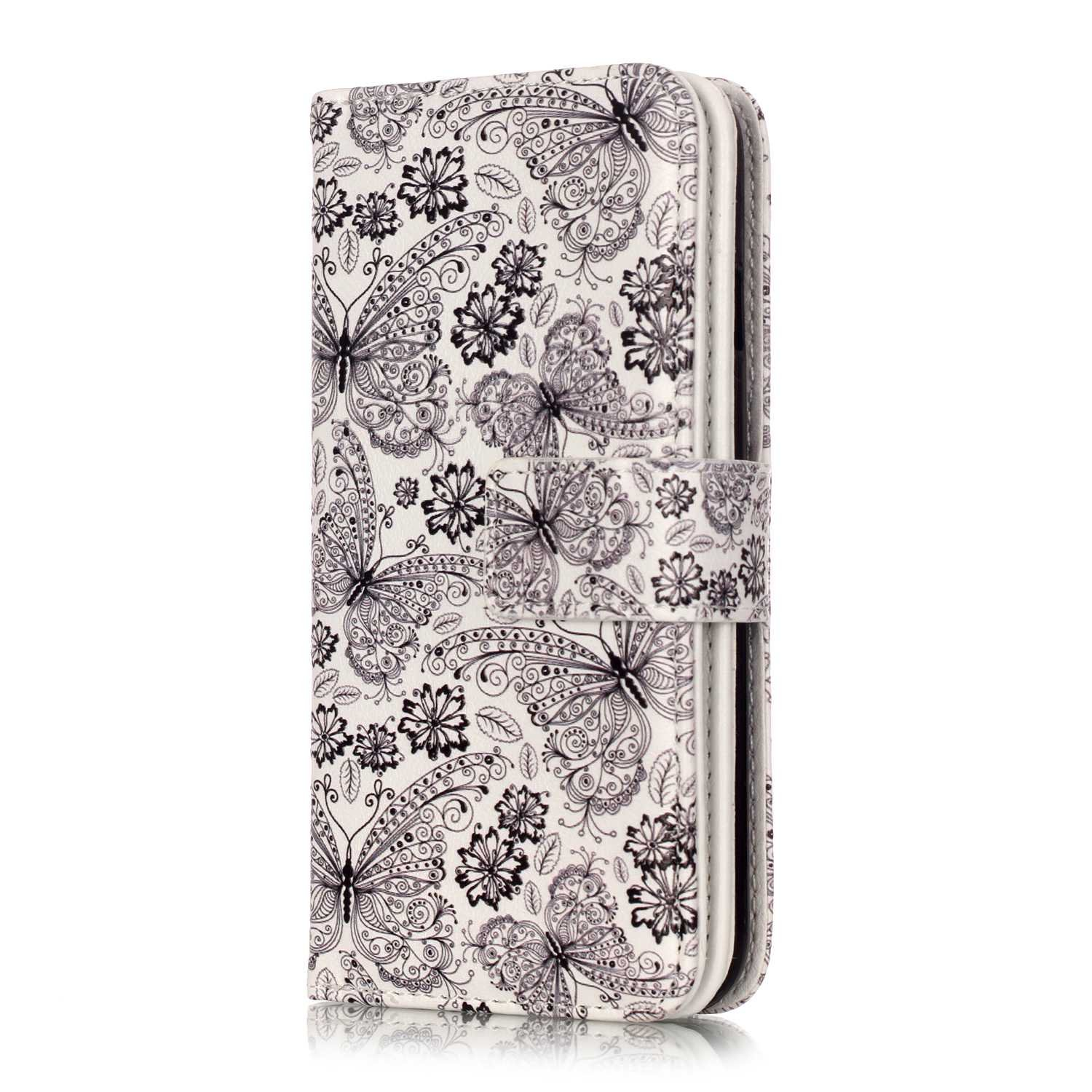 JuSha for Apply to Apple iPhone 7 / iPhone 8 Edge Case PU Leather Wallet Magnetic Cover Skin(Butterfly pattern mobile phone case) hot sale