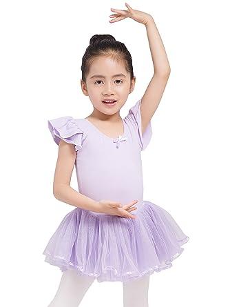 620afd180 Dancina Little Girls Leotard Tutu Dress Short Sleeve Ballet  Amazon ...