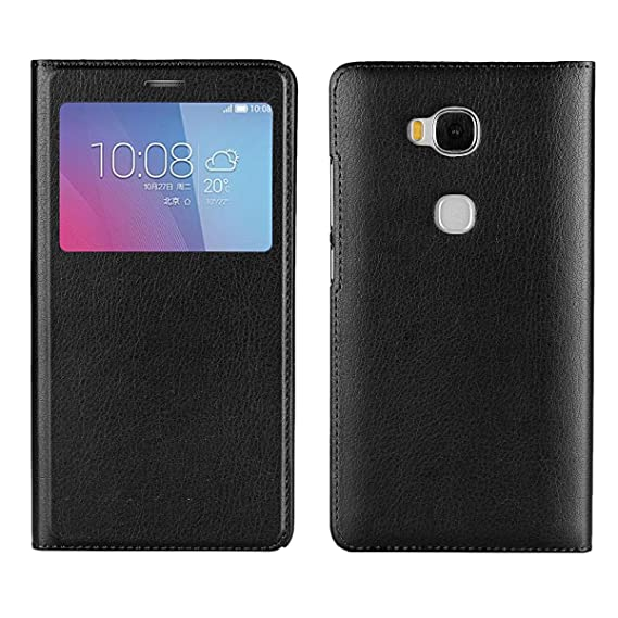 Jaorty Huawei Honor 5X Case, Ultra Thin Flip Cover Case Dual Window View  Stand Feature Leather Phone Case for Huawei Honor 5X,Black