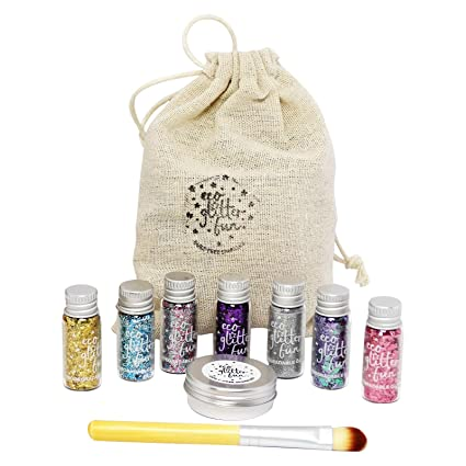 ECO GLITTER FUN - Kit de Brillo Surtido Biodegradable - Perfecto para Maquillaje de Cara,