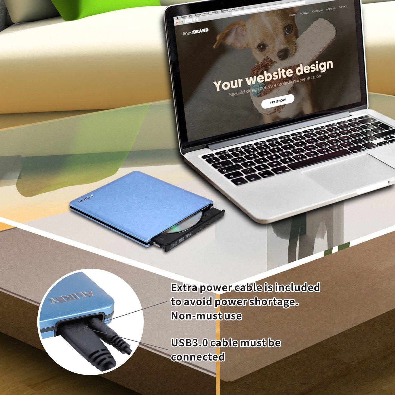 ALIKEY External DVD Drive, USB 3.0 CD/DVD-RW Writer Burner All-aluminum Ultra Slim Portable DVD Drive for Laptop and Desktop PC Windows Linux OS Apple Mac Macbook Pro (Blue) by ALIKEY (Image #5)