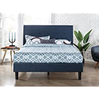 Zinus Omkaram Upholstered Navy Button Platform Bed King