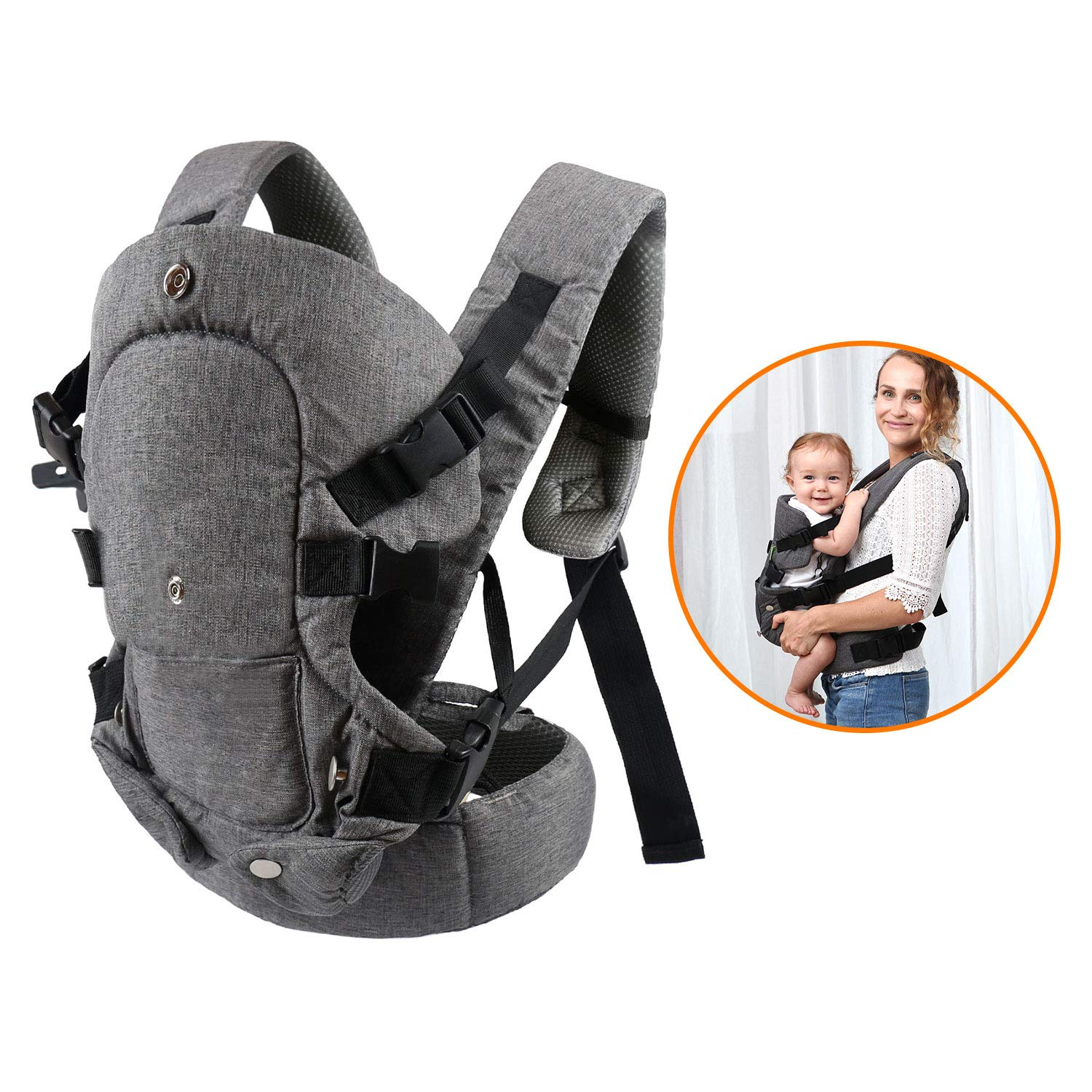 All Carry Position Newborn to Toddlers Ergonomic Carrier with Soft Breathable Air Mesh and All Adjustable Buckles caiyuangg Baby Convertible Carrier