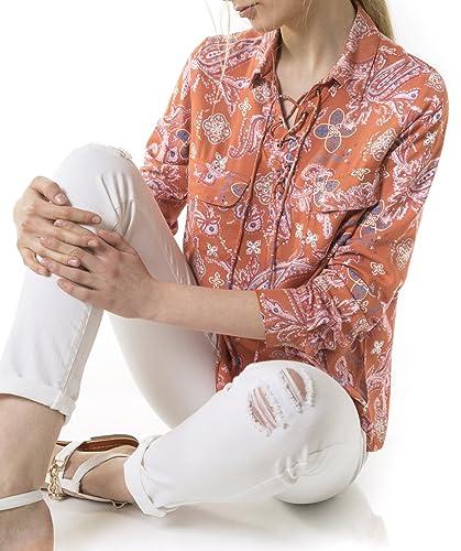 Blusa estampada con ojales y bolsillos