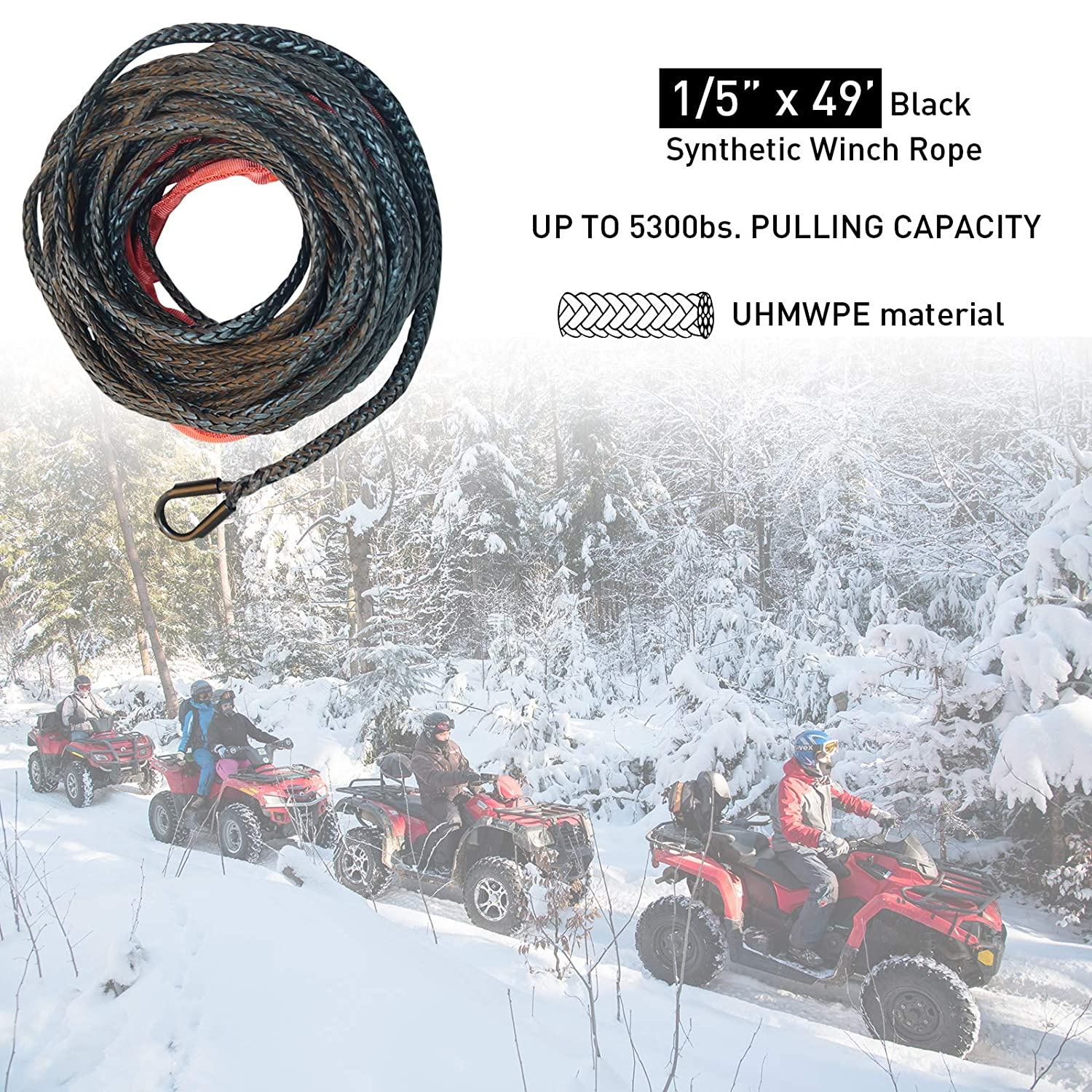 ZEAK 2//5/'/'/×80/' Durable Black Synthetic Rope 18500lb Capacity Winch Line Rope with Protective Sleeve for 4WD Off Road,ATV//UTV Truck Winch Rope.