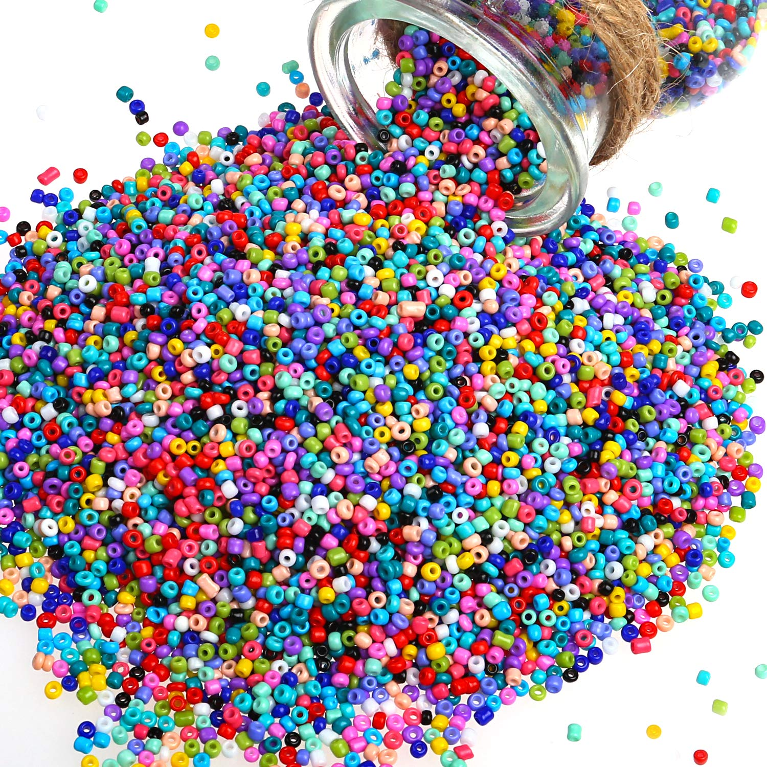 Phogary 1800pcs Glass Seed Beads Hole 1.3mm for Jewelry Making Mixed Colors Small Pony Beads Assorted Kit Opaque Colors Lustered Loose Spacer Beads 5mm Round 15 Colors DIY Crafting