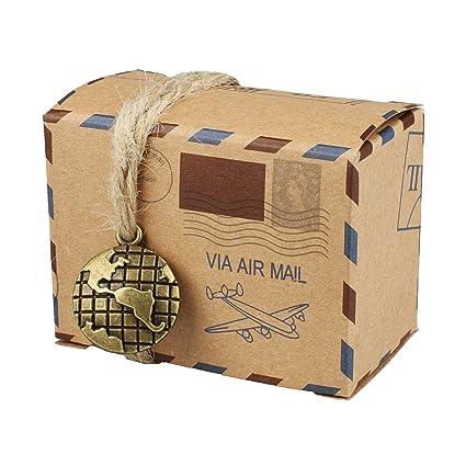 vlovelife 50pcs Vintage inspirado correo aéreo Diseño Favor cajas rectangular de papel Kraft cajas de caramelos