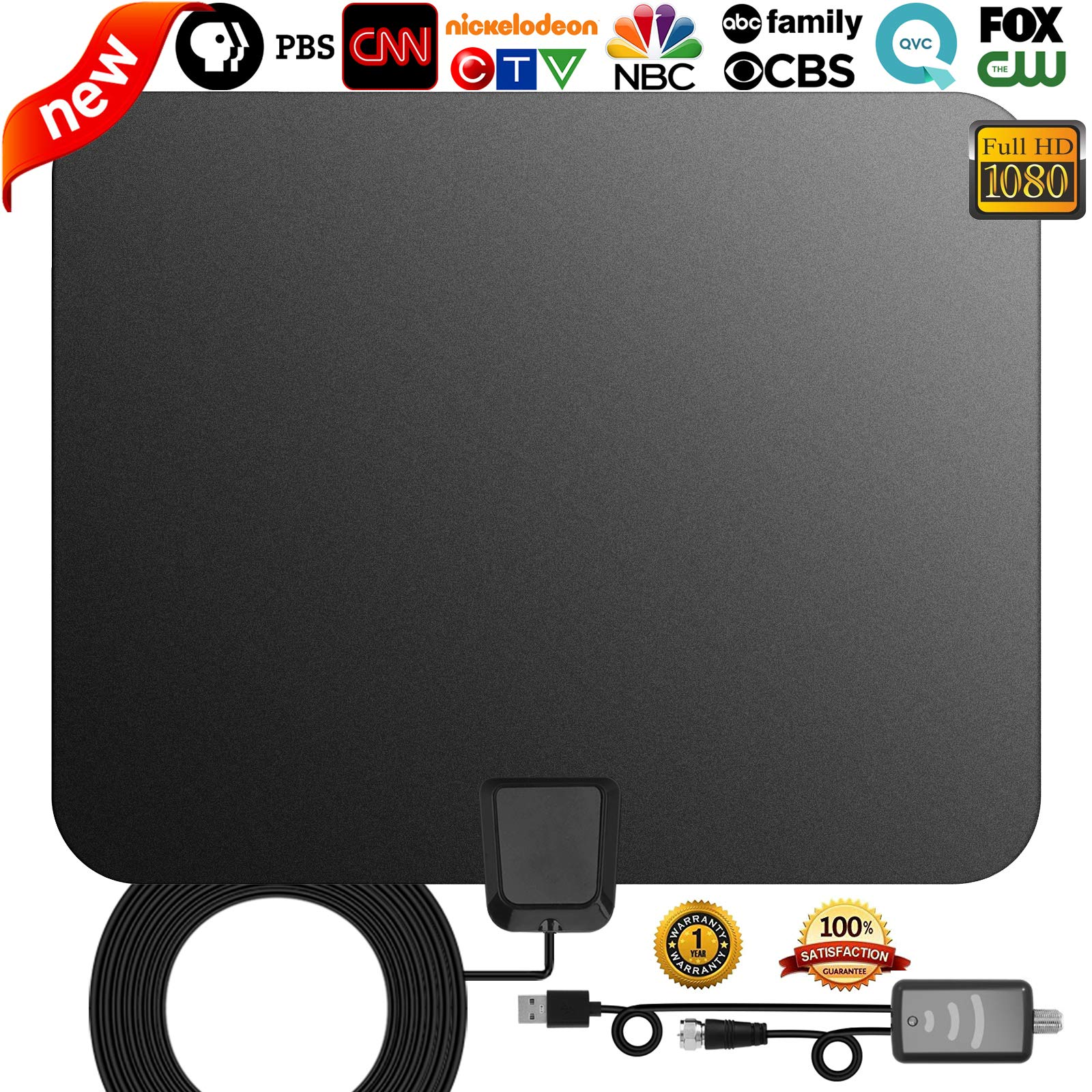 TV Antenna,[Best Indoor Antenna] Indoor Digital HDTV Amplified Television Antenna Freeview 4K 1080P HD VHF UHF for Local Channels 130 Miles with Signal Amplifier Support All Television-13ft Coax Cable by GreenYellow