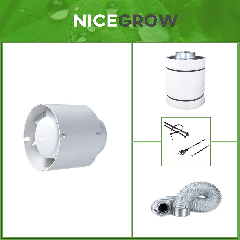 Abluft-Set Growzelt Blauberg Tubo 102cbm/h Aktivkohlefilter Grow
