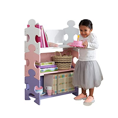KidKraft Wooden Puzzle Piece Bookcase with Three Shelves - Pastel: Toys & Games