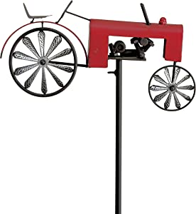 WHW Whole House Worlds Americana Garden Stake, Red Farm Tractor, Turning Wheels, Vintage Finish, Artisan Crafted, Iron, Hammered Wheel Spoke Details, Single Prong, 51 Inches Tall