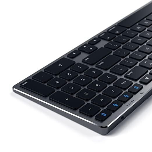 SATECHI Teclado Inalámbrico Delgado Bluetooth Aluminio con Keypad Numérico y Sinc. de 4-Dispositivos (Gris Espacial): Amazon.es: Electrónica