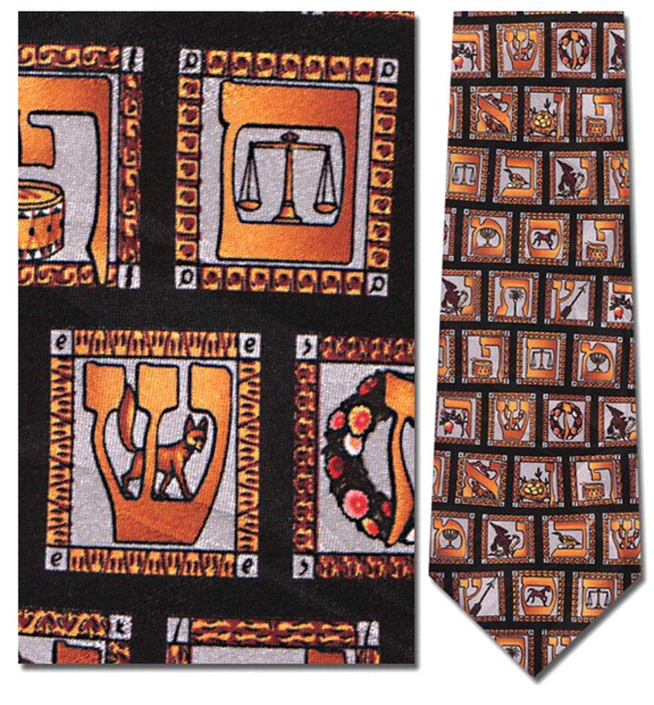 Mens 100% Silk Hebrew Alphabet Tie Necktie Multi (One Size)