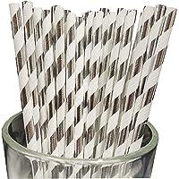 Sakasu 130 Stück Papierstrohhalme im Karton. Farben: Silber/weiß gestreift. Im Karton.