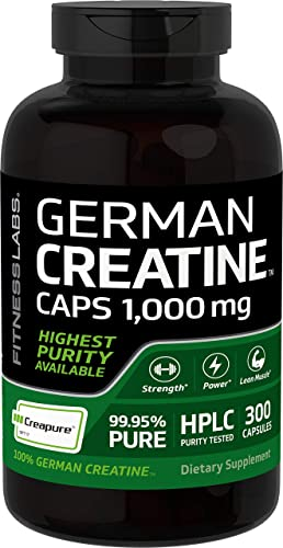 Creapure German Creatine 1000 Mg – 300 Capsules – Pills Contain Only Pure Creapure Creatine Monohydrate – No Fillers, Binders, or Excipients