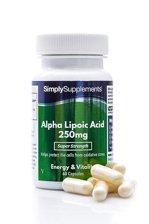 Ácido alfa lipoico 250 mg - 60 cápsulas - Coenzima que ayuda ...
