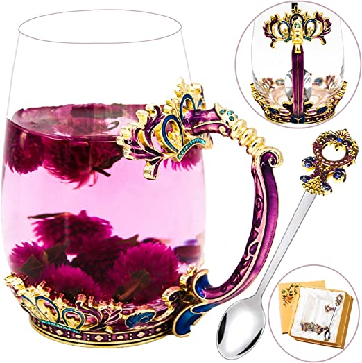Amazon Com Glass Tea Cup Lead Free Handmade Enamel Crown Clear