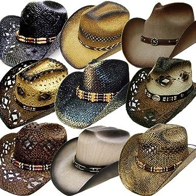 c7f7c71ce Modestone 24 Pcs Top Selling Pack Men's Straw Cowboy Hats Asst ...