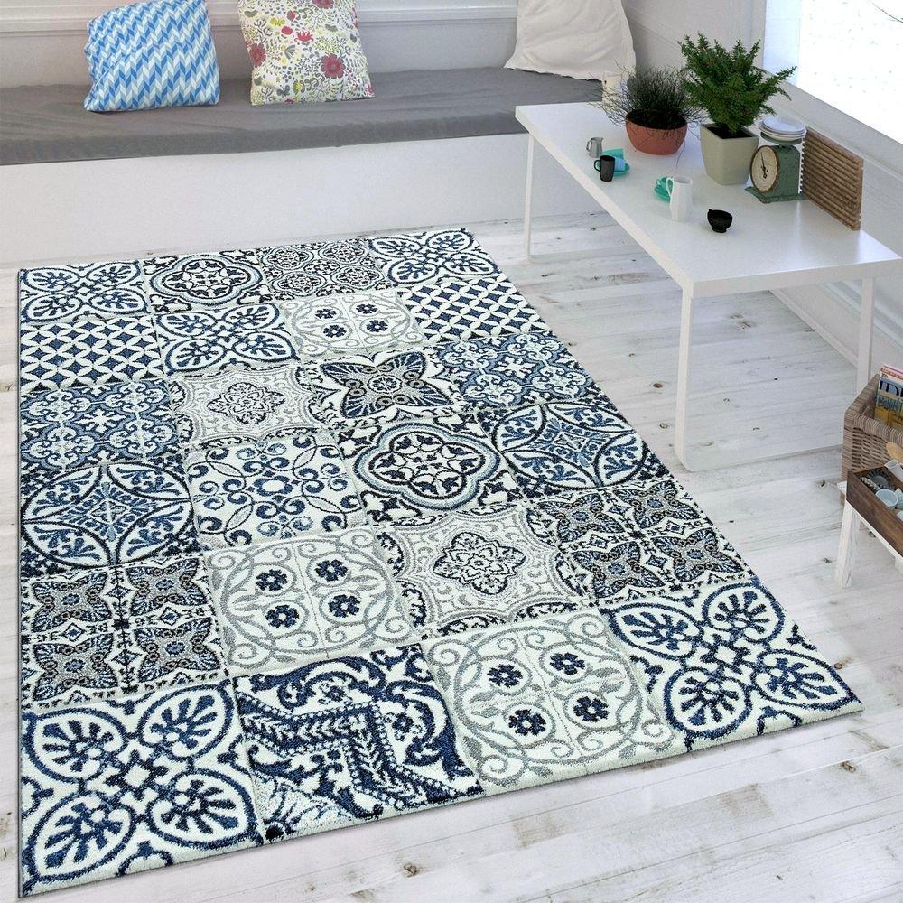 Paco Home Wohnzimmer Teppich Orient Muster Indigo Blau Weiß Grau Kurzflor Eyecatcher, Grösse 200x290 cm