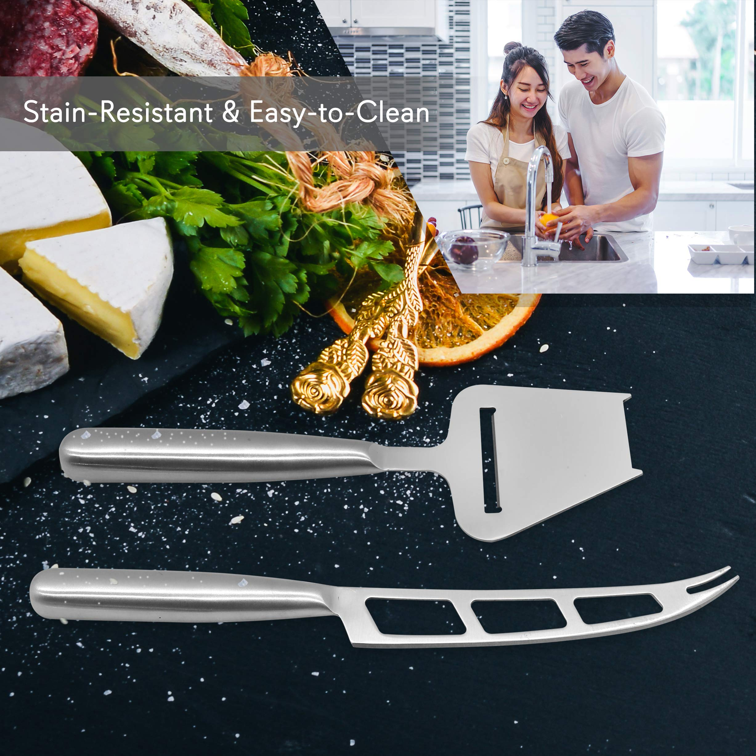 2 Piece Cheese Cutting Set - Portable Fancy Stainless Steel Non Stick Cheese Cutter Knife and Cheese Slicer - Cut, Shave, Slice, Serve, Spread - Gouda Blue Brie Parmesan Cheddar - NutriChef PKCNF10 by Nutrichef (Image #4)