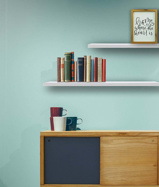 mdf estanter/ía moderna sal/ón dormitorio RE6062 Medidas: 3,8 x 60 x 25 cm Rebecca Mobili Juego de 2 estantes para pared estile moderno AxANxF blancas - Art