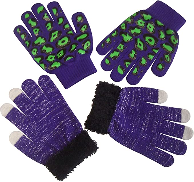 3 Pairs Neon Magic Gloves Mens Womens Stretchy Acrylic Available In 4 Colours